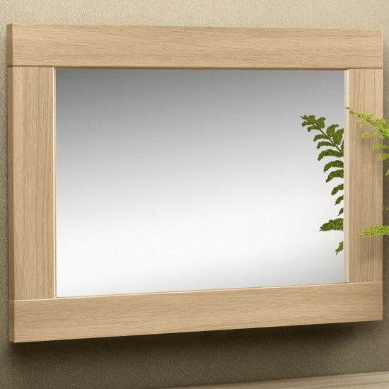 Elite Bedroom Wall Mirror In Light Oak Effect Frame