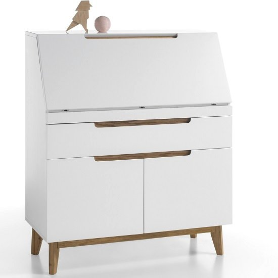 Merina Laptop Desk In Matt White And Knotty Oak With Storage_2
