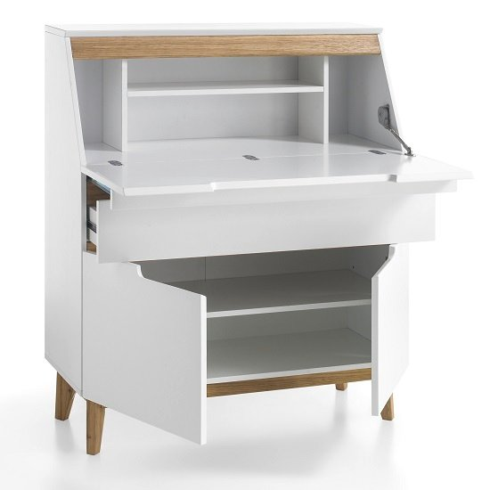 Merina Laptop Desk In Matt White And Knotty Oak With Storage_3