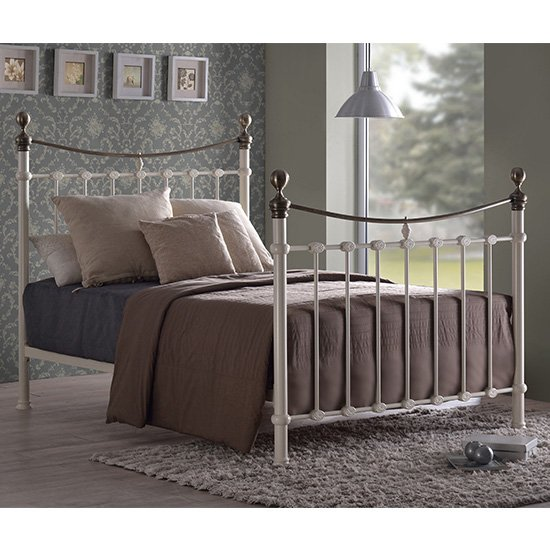 Elizabeth Ivory Metal King Size Bed With Brushed Brass Finials