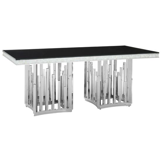 Elizak Black Glass Dining Table With Silver Metal Legs