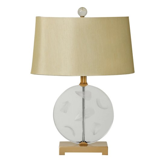 Ella Table Lamp In Taupe With Clear Round Base