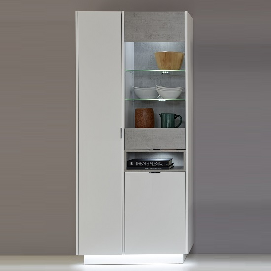 Elle Display Cabinet White Stone Grey And High Gloss Front LED_1