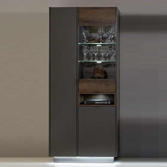 Elle Display Cabinet In Terra Grey And Monastary Oak With LED