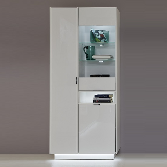 Elle Display Cabinet In White And High Gloss Fronts With LED