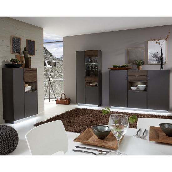 Living Room Cupboard Images: Elle Display Cabinet In Terra Grey And Monastary Oak With