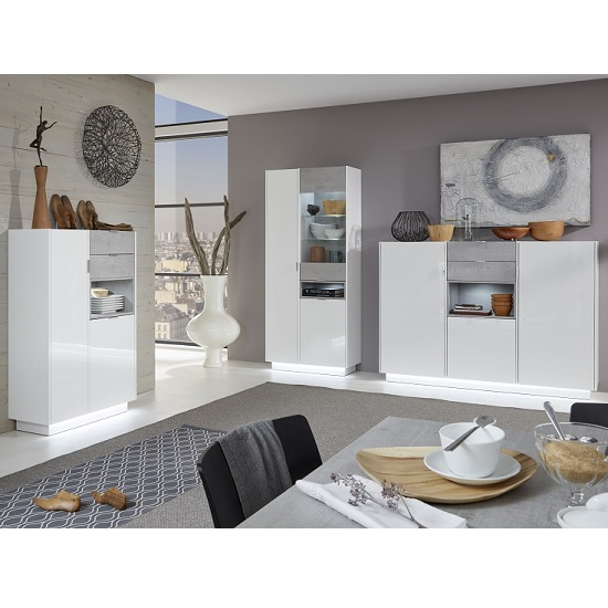 Elle Display Cabinet White Stone Grey And High Gloss Front LED_3