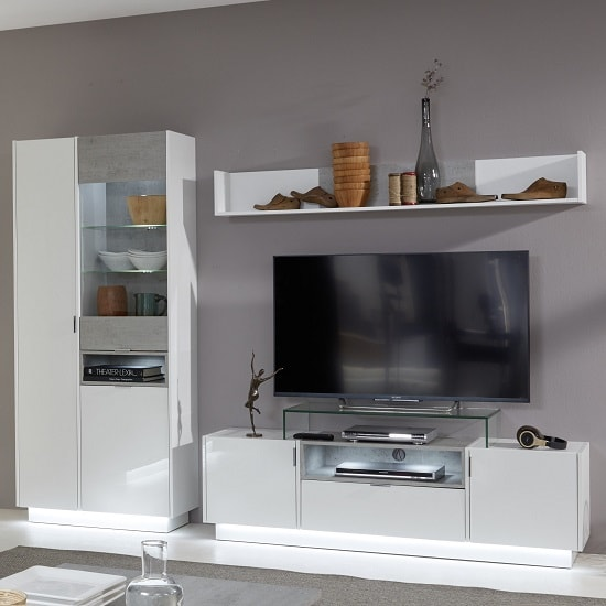 Elle Display Cabinet White Stone Grey And High Gloss Front LED_4