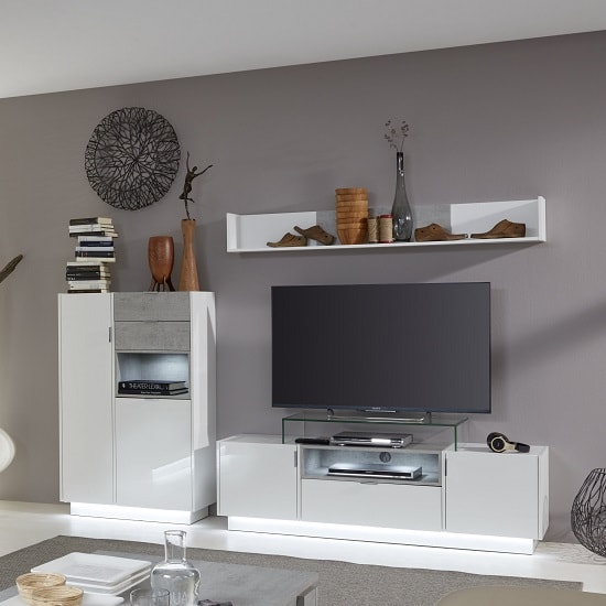 Elle Living Room Set 1 White Stone Grey And High Gloss Front LED