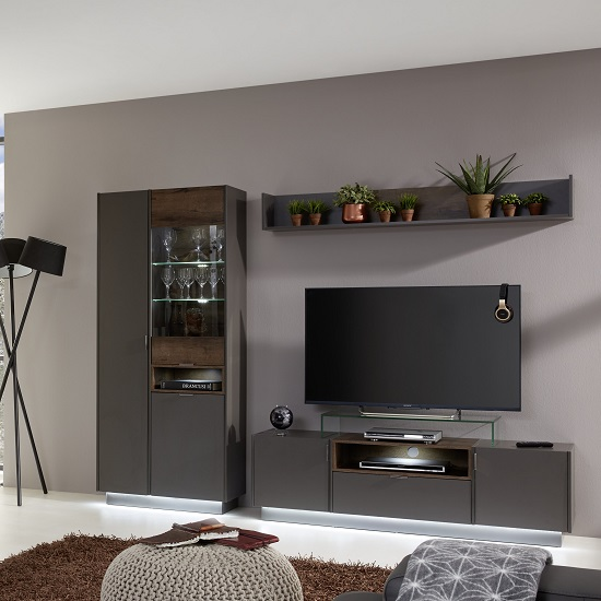 Elle Living Room Set 1 In Terra Grey And Monastary Oak With LED