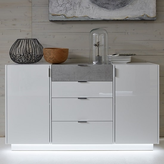 Elle Sideboard In White Stone Grey With High Gloss Fronts LED