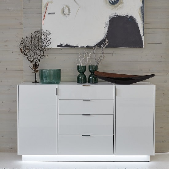 Elle Sideboard In White With High Gloss Fronts And LED