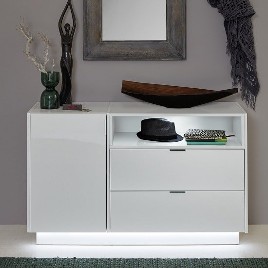 Elle TV Sideboard In White With High Gloss Fronts And LED_3