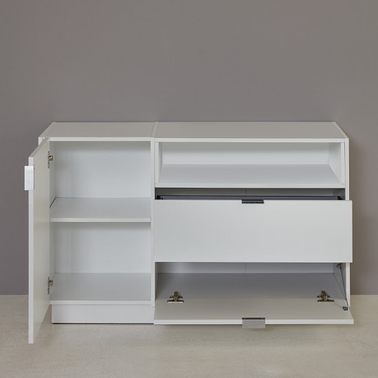 Elle TV Sideboard In White Stone Grey And High Gloss Fronts LED_2