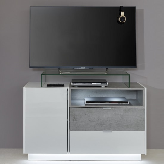 Elle TV Sideboard In White Stone Grey And High Gloss Fronts LED_1