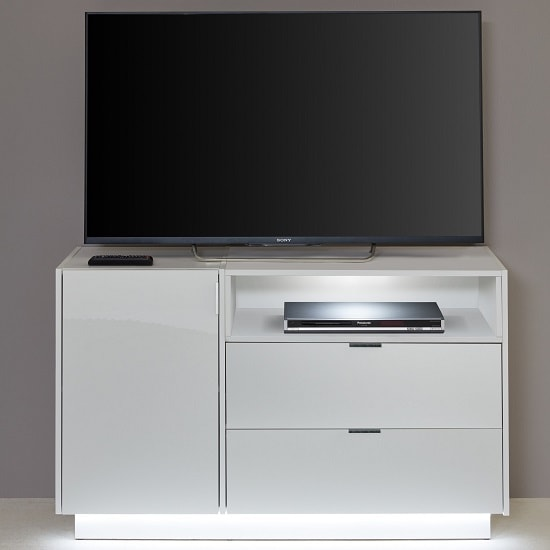 Elle TV Sideboard In White With High Gloss Fronts And LED