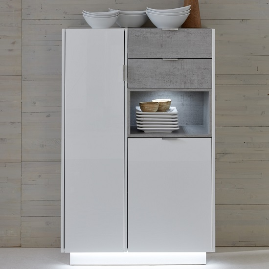 Elle Storage Cabinet White Stone Grey And High Gloss Front LED
