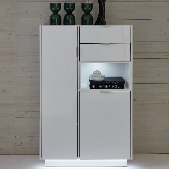 Elle Storage Cabinet In White With High Gloss Fronts And LED