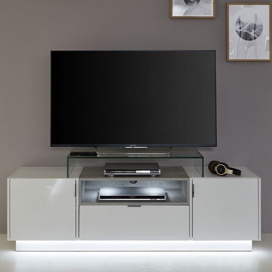 Elle TV Stand In White Stone Grey And High Gloss Fronts LED