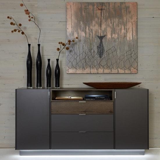 Elle Sideboard Wide In Terra Grey And Monastary Oak With LED