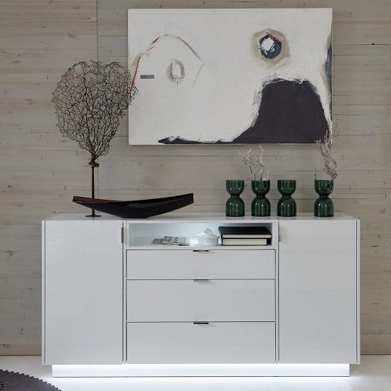 Elle Sideboard Wide In White With High Gloss Fronts And LED