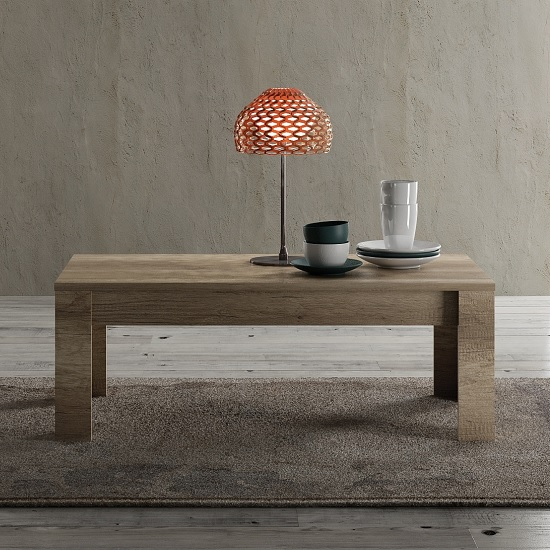 Ellie Wooden Coffee Table Rectangular In Canyon Oak