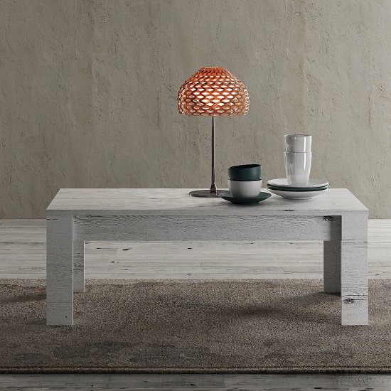 Ellie Wooden Coffee Table Rectangular In White Oak