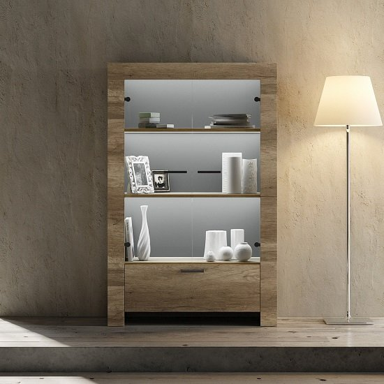 Ellie Display Cabinet In Canyon Oak With 2 Glass Doors And LED