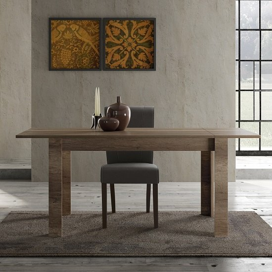 Ellie Wooden Extendable Dining Table In Canyon Oak