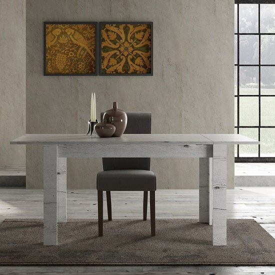 Ellie Wooden Extendable Dining Table In White Oak