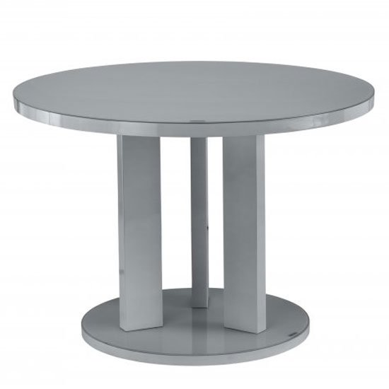 Brambly Glass Round Dining Table In Grey High Gloss