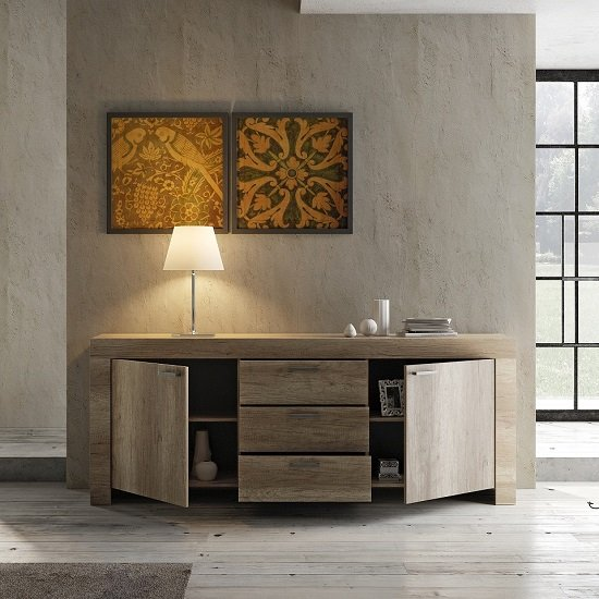 Ellie Wooden Sideboard In Canyon Oak With 2 Doors And 3 Drawers_2