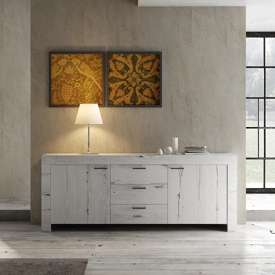 Ellie Wooden Sideboard In White Oak With 2 Doors And 3 Drawers