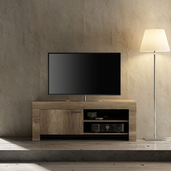 Ellie Wooden TV Stand In Canyon Oak With 1 Door