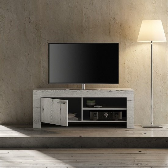 Ellie Wooden TV Stand In White Oak With 1 Door
