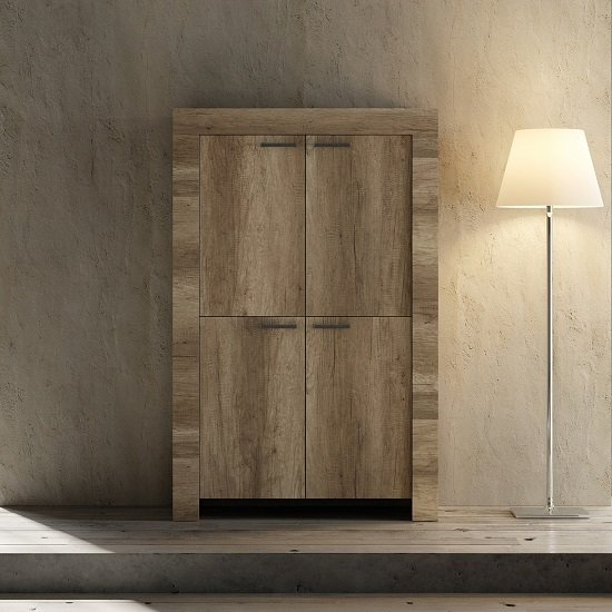 Ellie Wooden Storage Cabinet In Canyon Oak With 4 Doors