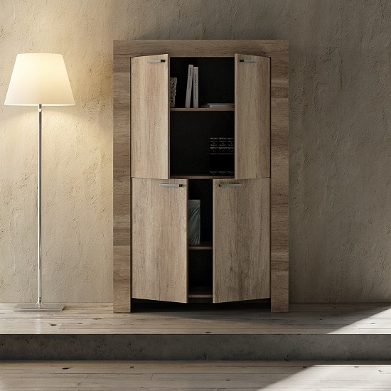 Ellie Wooden Storage Cabinet In Canyon Oak With 4 Doors_2