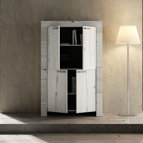 Ellie Wooden Storage Cabinet In White Oak With 4 Doors_2