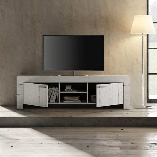 Ellie Wooden TV Stand Wide In White Oak With 2 Doors_2