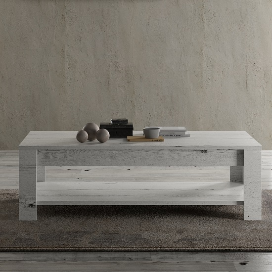 Ellie Wooden Coffee Table In White Oak With Undershelf