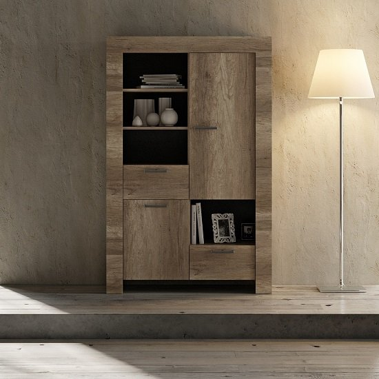 Ellie Wooden Display Cabinet In Canyon Oak With 2 Doors