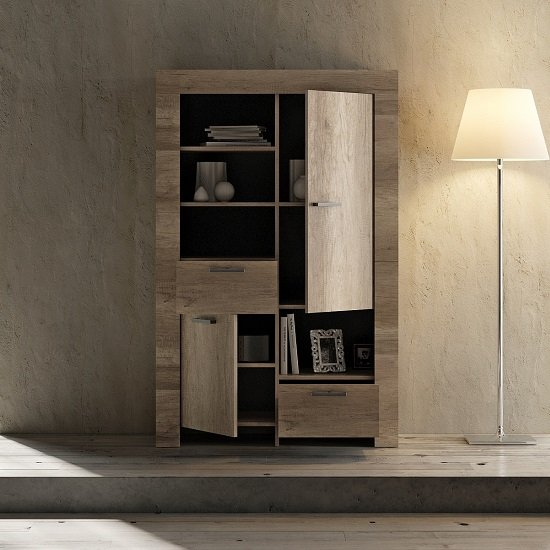 Ellie Wooden Display Cabinet In Canyon Oak With 2 Doors_2