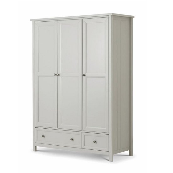 Ellie Wooden Large Wardrobe In Dove Grey Lacquered