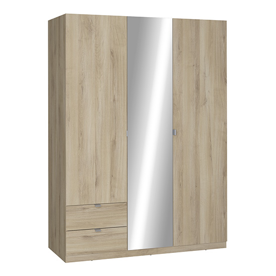 Ellim Mirrored Wooden Wardrobe In Kronberg Oak With 3 Doors