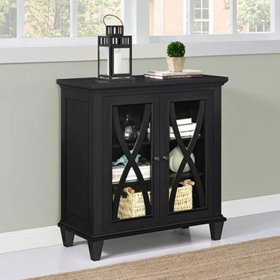 Ellington Wooden Display Cabinet In Black With 2 Doors_2
