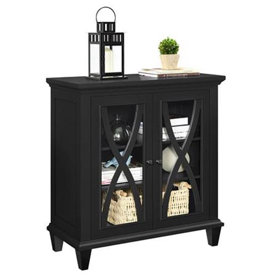 Ellington Wooden Display Cabinet In Black With 2 Doors_3