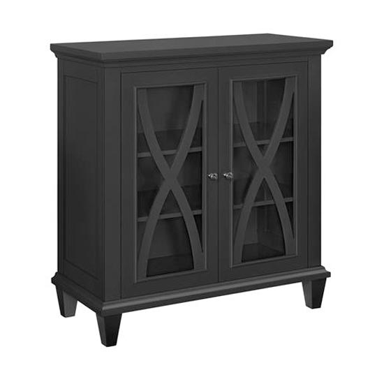 Ellington Wooden Display Cabinet In Black With 2 Doors_4