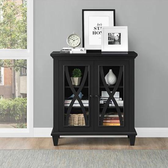 Ellington Wooden Display Cabinet In Black With 2 Doors_1