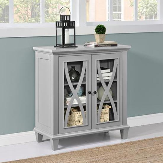 Ellington Wooden Display Cabinet In Grey With 2 Doors_2