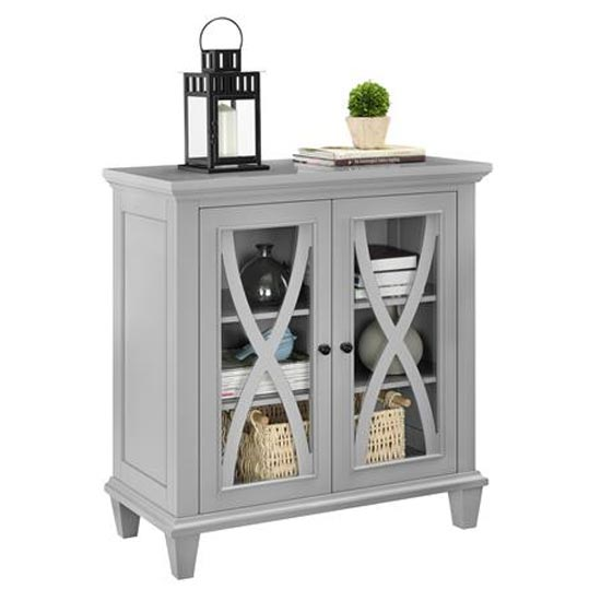 Ellington Wooden Display Cabinet In Grey With 2 Doors_3